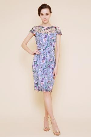パープル 小花刺繍 タイトドレス