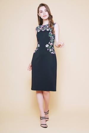 ブラック 小花刺繍 ネオプレンミディアムドレス