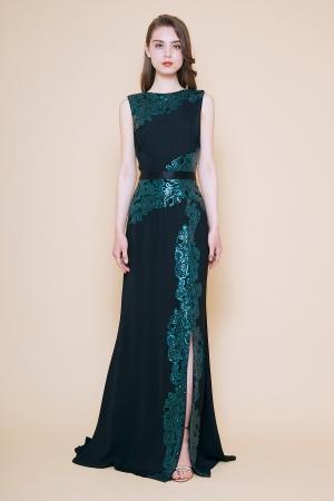 グリーン スパンコールライン スリットロングドレス